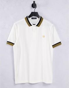 Белая футболка-поло с воротником в полоску Fred Perry-Белый