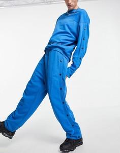 Синие oversized-джоггеры прямого кроя с кнопками от комплекта ASOS DESIGN-Голубой