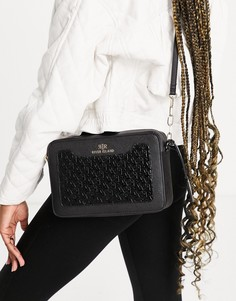 Черная сумочка через плечо с тиснением River Island-Черный цвет