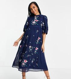 Темно-синее платье миди из ткани добби с высоким воротом, вышивкой и кружевной отделкой ASOS DESIGN Maternity-Темно-синий