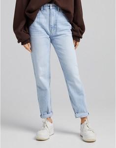 Голубые выбеленные джинсы в винтажном стиле Bershka-Голубой