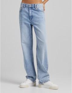 Винтажно-голубые свободные джинсы в стиле 90-х Bershka-Голубой
