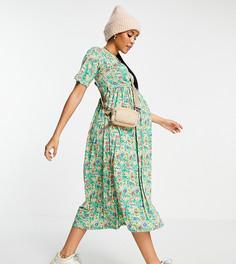 Зеленое платье миди с цветочным принтом, запахом и завязкой River Island Maternity-Зеленый цвет
