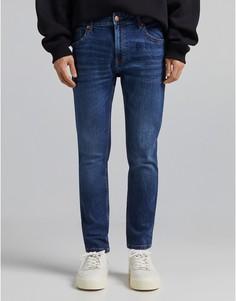 Синие джинсы скинни Bershka-Голубой