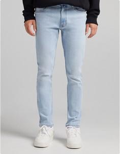 Голубые узкие джинсы Bershka-Голубой