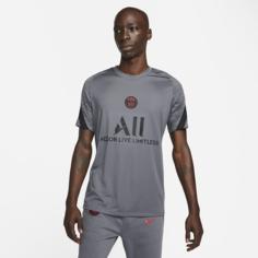 Мужская игровая футболка с коротким рукавом Nike Dri-FIT Paris Saint-Germain Strike - Серый