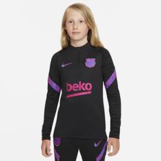 Футболка для футбольного тренинга для школьников Nike Dri-FIT FC Barcelona Strike - Черный