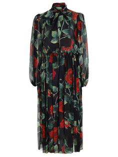 Платье шелковое с принтом Dolce & Gabbana