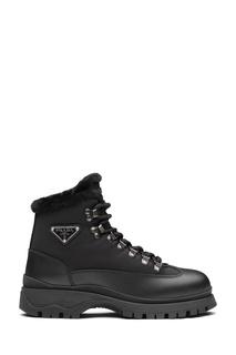Черные комбинированные ботинки с мехом Prada