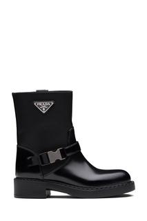 Комбинированные ботинки черного цвета Prada