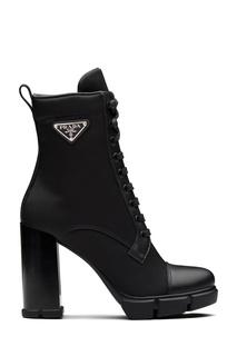 Черные комбинированные полусапоги со шнуровкой Prada