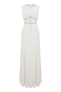Белое платье-макси с кристаллами Self Portrait