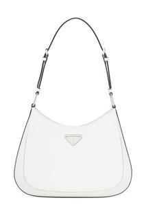 Белая кожаная сумка Prada Cleo