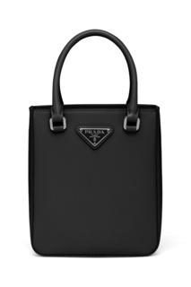 Черная кожаная сумка-тоут Prada