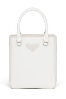 Белая кожаная сумка-тоут Prada