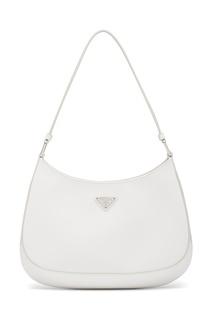 Белая сумка из кожи Prada Cleo