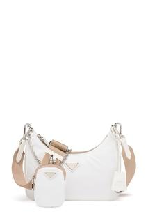 Белая текстильная сумка Prada Re-Edition 2005