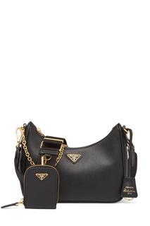 Черная сумка с золотистой фурнитурой Prada Re-Edition 2005