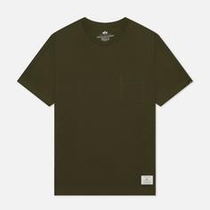 Мужская футболка Alpha Industries Essential Pocket, цвет оливковый, размер XL