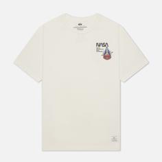 Мужская футболка Alpha Industries NASA Columbia, цвет белый, размер XXL