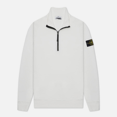 Мужская толстовка Stone Island Brushed Cotton Fleece Half-Zipper, цвет белый, размер L