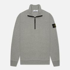 Мужская толстовка Stone Island Brushed Cotton Fleece Half-Zipper, цвет серый, размер M