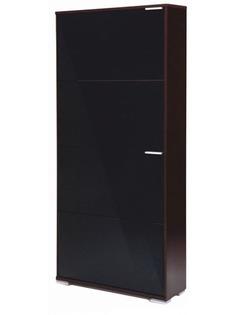 Обувница Vental Вива-4LB Венге-Black стекло