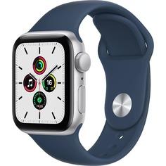 Смарт-часы Apple Watch SE 44 мм серебристый, спортивный ремешок