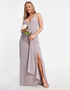 Светло-серое платье для подружки невесты на бретелях, с запахом и юбкой-годе TFNC Bridesmaid-Серый