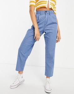 Голубые джинсы с завышенной талией, складками и объемными штанинами от комплекта Lee-Голубой