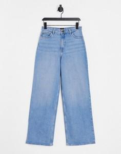 Голубые джинсы А-силуэта с прямыми штанинами и завышенной талией Lee Stella-Голубой