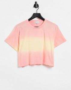 Укороченная коралловая футболка спринтом тай-дай In The Style-Розовый цвет