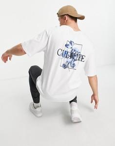 Белая футболка в стиле oversized с принтом цветов на спине Jack & Jones Originals-Белый