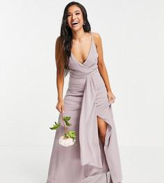 Светло-серое платье для подружки невесты на бретелях, с запахом и юбкой-годе TFNC Petite Bridesmaid-Серый
