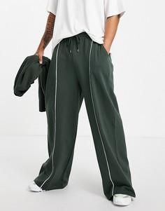"""Зеленые широкие джоггеры в стиле """"super oversized"""" с кантом ASOS DESIGN-Зеленый цвет"""