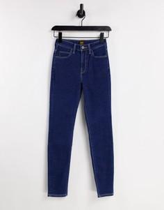 Темно-синие джинсы скинни с завышенной талией Lee Scarlett-Голубой