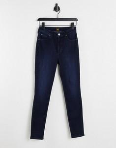 Темно-синие зауженные джинсы с завышенной талией Lee Ivy-Голубой