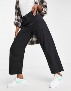 Черные укороченные джинсы с широкими штанинами и завышенной талией Lee Jeans-Черный цвет