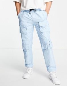 Синие свободные брюки карго с несколькими карманами Topman-Голубой