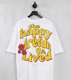 Белая свободная футболка с принтом на спине Bershka-Белый