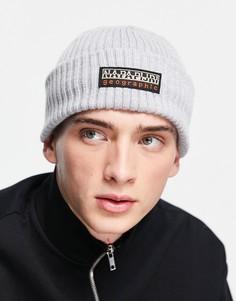 Светло-серая шапка-бини Napapijri Foli-Серый