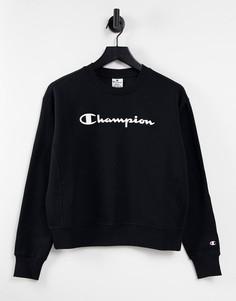Свободный укороченный свитшот черного цвета с крупным логотипом Champion-Черный цвет