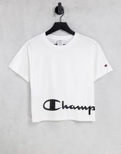 Белая укороченная футболка свободного кроя с крупным логотипом Champion-Белый
