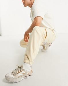 Oversized-джоггеры из плотного флиса с карманами карго ASOS DESIGN-Светло-бежевый цвет