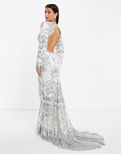 Серебристое свадебное платье с годе и цветочной отделкой ASOS EDITION Delilah-Серебристый