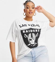 """Белая футболка в стиле oversized с короткими рукавами и принтом """"Las Vegas Raiders"""" ASOS DESIGN Curve-Белый"""