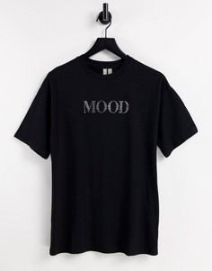 """Oversized-футболка черного цвета с надписью """"Mood"""" из стразов ASOS DESIGN-Черный цвет"""
