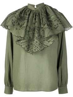 ETRO блузка со сборками и цветочной вышивкой