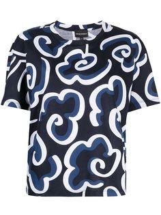 Emporio Armani футболка с круглым вырезом и цветочной вышивкой