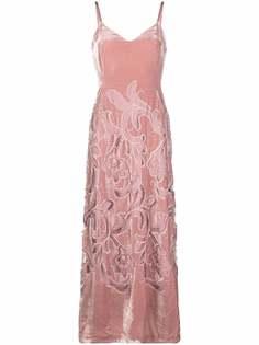Alberta Ferretti платье макси с цветочной вышивкой